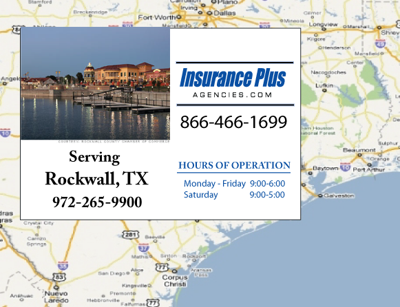 Insurance Plus Agencies of Texas (972)265-9900 is your Commercial Liability Insurance Agency serving Rockwall, Texas. Call our dedicated agents anytime for a Quote. We are here for you 24/7 to find the Texas Insurance that's right for you.