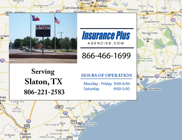 Insurance Plus Agencies of Texas (806)221-2583 is your Commercial Liability Insurance Agency serving Slaton, Texas.
