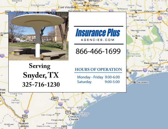 Insurance Plus Agencies of Texas (325)716-1230 is your Commercial Liability Insurance Agency serving Snyder, Texas. Call our dedicated agents anytime for a Quote. We are here for you 24/7 to find the Texas Insurance that's right for you.