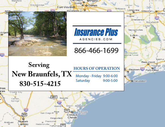 Insurance Plus Agencies of Texas (830)515-4215 is your Commercial Liability Insurance Agency serving New Braunfels, Texas. Call our dedicated agents anytime for a Quote. We are here for you 24/7 to find the Texas Insurance that's right for you.