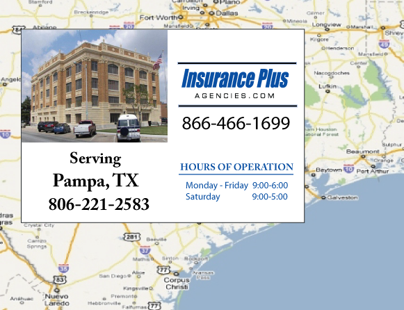 Insurance Plus Agencies of Texas (806)221-2583 is your Commercial Liability Insurance Agency serving Pampa, Texas. Call our dedicated agents anytime for a Quote. We are here for you 24/7 to find the Texas Insurance that's right for you.