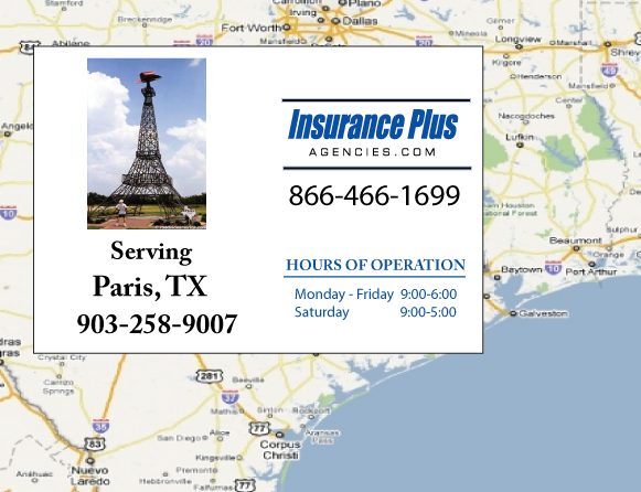 Insurance Plus Agencies of Texas (903) 258-9007 is your Suspended Drivers License Insurance Agent in Paris, Texas.