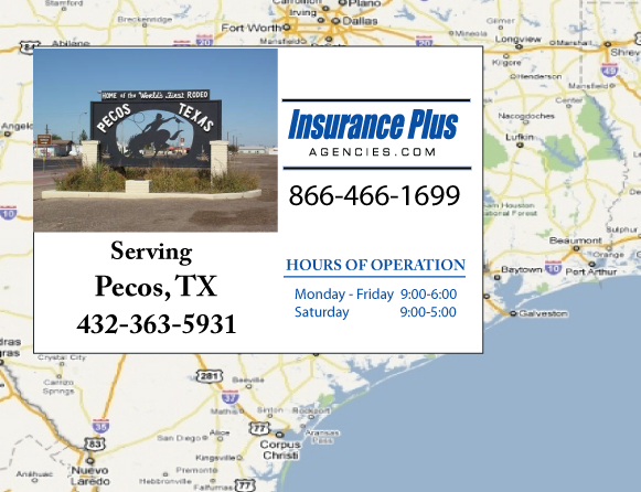 Insurance Plus Agencies of Texas (432)363-5931 is your Commercial Liability Insurance Agency serving Pecos, Texas. Call our dedicated agents anytime for a Quote. We are here for you 24/7 to find the Texas Insurance that's right for you.