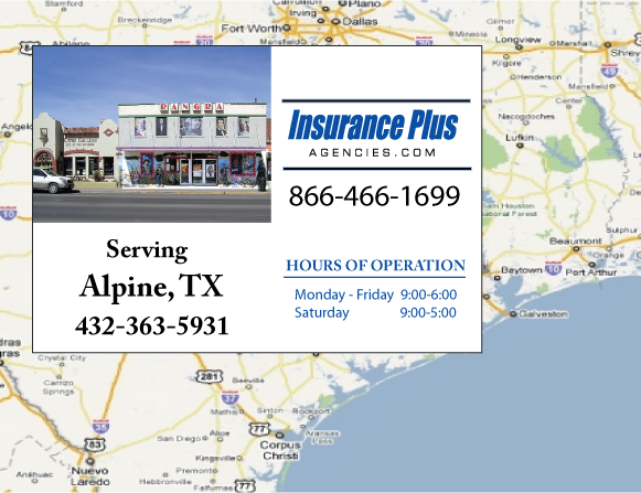 Insurance Plus Agencies of Texas (432)363-5931 is your Commercial Liability Insurance Agency serving Alpine, Texas.