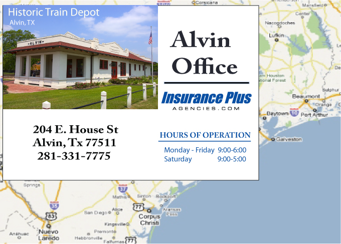 Insurance Plus Agencies of Texas (281)331-7775 is your Commercial Liability Insurance Agency serving Alvin, Texas. Call our dedicated agents anytime for a Quote. We are here for you 24/7 to find the Texas Insurance that's right for you.