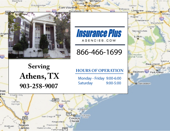 Insurance Plus Agencies of Texas (903)258-9007 is your Commercial Liability Insurance Agency serving Athens, Texas. Call our dedicated agents anytime for a Quote. We are here for you 24/7 to find the Texas Insurance that's right for you.