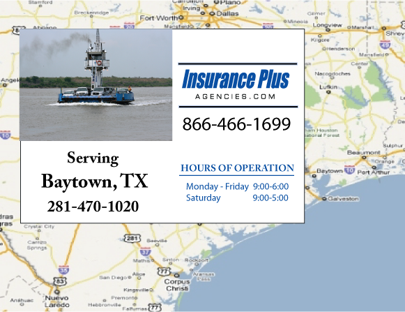Insurance Plus Agencies of Texas (281)470-1020 is your Commercial Liability Insurance Agency serving Baytown, Texas. Call our dedicated agents anytime for a Quote. We are here for you 24/7 to find the Texas Insurance that's right for you.