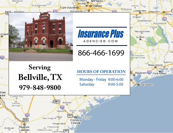Insurance Plus Agencies of Texas (979)848-9800 is your Commercial Liability Insurance Agency serving Bellville, Texas. Call our dedicated agents anytime for a Quote. We are here for you 24/7 to find the Texas Insurance that's right for you.