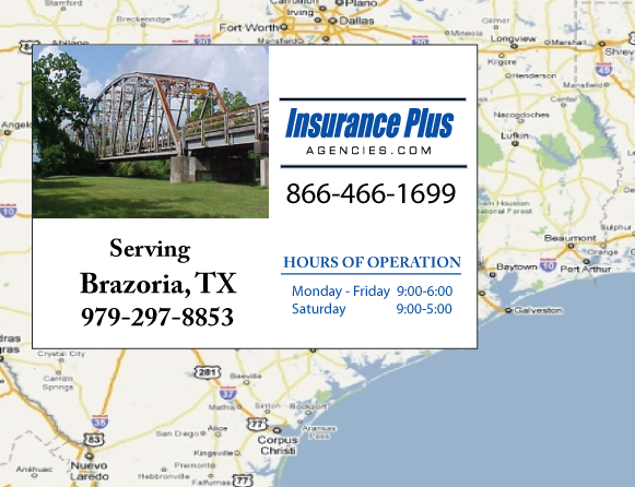 Insurance Plus Agencies of Texas (979)297-8853 is your Commercial Liability Insurance Agency serving Brazoria, Texas. Call our dedicated agents anytime for a Quote. We are here for you 24/7 to find the Texas Insurance that's right for you.