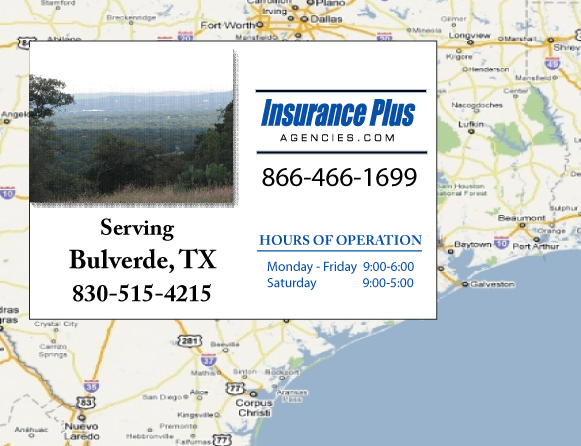 Insurance Plus Agencies of Texas (830)515-4215 is your Commercial Liability Insurance Agency serving Bulverde, Texas. Call our dedicated agents anytime for a Quote. We are here for you 24/7 to find the Texas Insurance that's right for you.