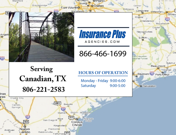 Insurance Plus Agencies of Texas (806)221-2583 is your Commercial Liability Insurance Agency serving Canadian, Texas. Call our dedicated agents anytime for a Quote. We are here for you 24/7 to find the Texas Insurance that's right for you.