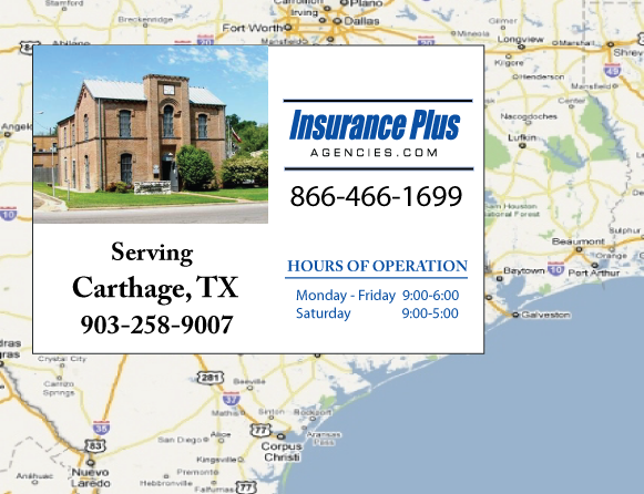 Insurance Plus Agencies of Texas (903)258-9007 is your Commercial Liability Insurance Agency serving Carthage, Texas.