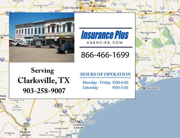 Insurance Plus Agencies of Texas (903)258-9007 is your Commercial Liability Insurance Agency serving Clarksville, Texas. Call our dedicated agents anytime for a Quote. We are here for you 24/7 to find the Texas Insurance that's right for you.