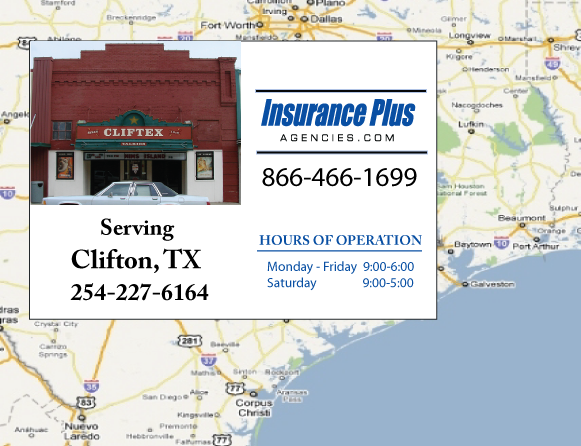 Insurance Plus Agencies of Texas (254)227-6164 is your Commercial Liability Insurance Agency serving Clifton, Texas. Call our dedicated agents anytime for a Quote. We are here for you 24/7 to find the Texas Insurance that's right for you.