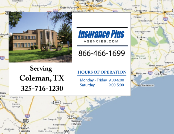Insurance Plus Agencies of Texas (325)716-1230 is your Commercial Liability Insurance Agency serving Coleman, Texas.