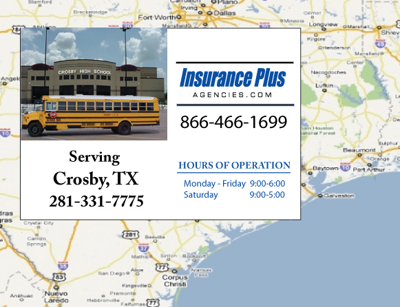 Insurance Plus Agencies of Texas (281)331-7775 is your Commercial Liability Insurance Agency serving Crosby, Texas. Call our dedicated agents anytime for a Quote. We are here for you 24/7 to find the Texas Insurance that's right for you.