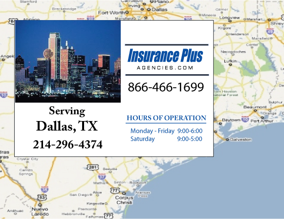 Insurance Plus Agencies of Texas (214)296-4374 is your Commercial Liability Insurance Agency serving Dallas, Texas. Call our dedicated agents anytime for a Quote. We are here for you 24/7 to find the Insurance that's right for you.