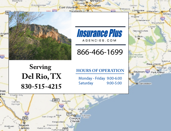 Insurance Plus Agencies of Texas (325)716-1230 is your Commercial Liability Insurance Agency serving Del Rio, Texas. Call our dedicated agents anytime for a Quote. We are here for you 24/7 to find the Texas Insurance that's right for you.