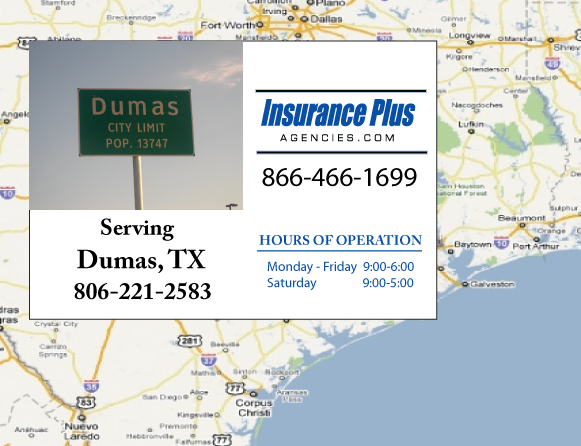 Insurance Plus Agencies of Texas (806)221-2583 is your Event Liability Insurance Agent in Dumas, Texas.