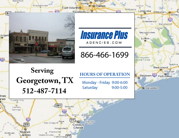Insurance Plus Agencies of Texas (512)487-7114 is your Commercial Liability Insurance Agency serving Georgetown, Texas. Call our dedicated agents anytime for a Quote. We are here for you 24/7 to find the Texas Insurance that's right for you.