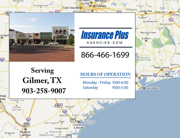 Insurance Plus Agencies of Texas (903)258-9007 is your Commercial Liability Insurance Agency serving Gilmer, Texas. Call our dedicated agents anytime for a Quote. We are are for you 24/7 to find the Texas Insurance that's right for you.
