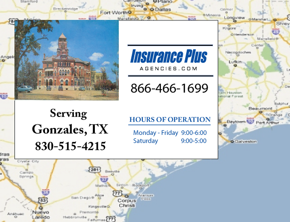 Insurance Plus Agencies of Texas (830)515-4215 is your Commercial Liability Insurance Agency serving Gonzales, Texas.