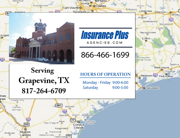 Insurance Plus Agencies of Texas (817)264-6709 is your Commercial Liability Insurance Agency serving Grapevine, Texas. Call our dedicated agents anytime for a Quote. We are here for you 24/7 to find the Texas Insurance that's right for you.