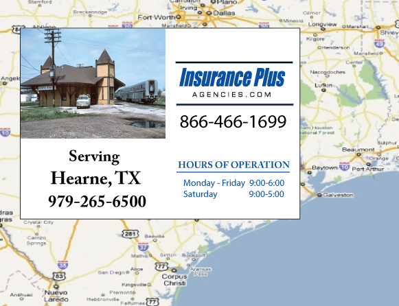 Insurance Plus Agencies of Texas (979)265-6500 is your Commercial Liability Insurance Agency serving Hearne, Texas. Call our dedicated agents anytime for a Quote. We are are for you 24/7 to find the Texas Insurance that's right for you.