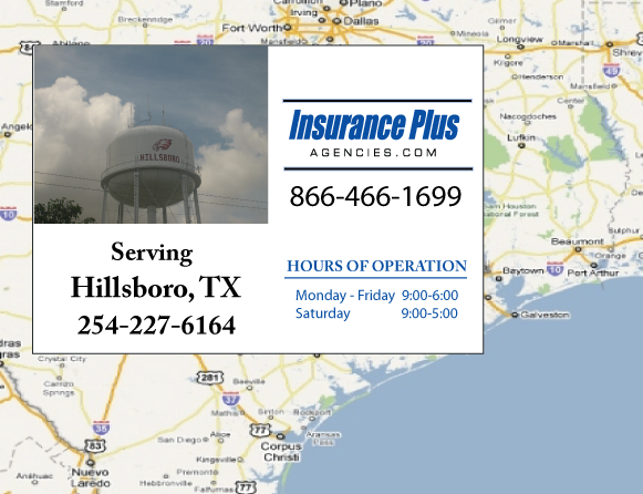 Insurance Plus Agencies of Texas (254)227-6164 is your Commercial Liability Insurance Agency serving Hillsboro, Texas.
