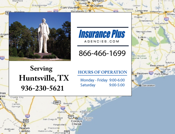 Insurance Plus Agencies of Texas (936)230-5621 is your Commercial Liability Insurance Agency serving Huntsville, Texas. Call our dedicated agents anytime for a Quote. We are here for you 24/7 to find the Texas Insurance that's right for you.
