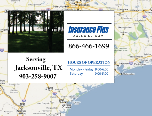 Insurance Plus Agencies of Texas (903)258-9007 is your Commercial Liability Insurance Agency serving Jacksonville, Texas. Call our dedicated agents anytime for a Quote. We are here for you 24/7 to find the Texas Insurance that's right for you.
