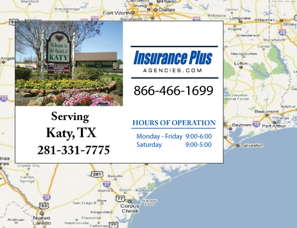 Insurance Plus Agencies of Texas (281)331-7775 is your Commercial Liability Insurance Agency serving Katy, Texas. Call our dedicated agents anytime for a Quote. We are here for you 24/7 to find the Texas Insurance that's right for you.