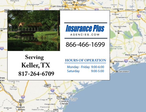 Insurance Plus Agencies of Texas (817)264-6709 is your Commercial Liability Insurance Agency serving Keller, Texas. Call our dedicated agents anytime for a Quote. We are here for you 24/7 to find the Texas Insurance that's right for you.