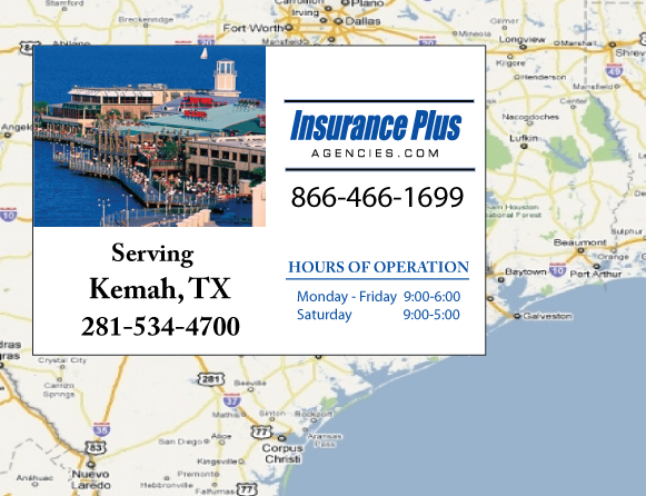 Insurance Plus Agencies of Texas (281)534-4700 is your Commercial Liability Insurance Agency serving Kemah, Texas. Call our dedicated agents anytime for a Quote. We are here for you 24/7 to find the Texas Insurance that's right for you.