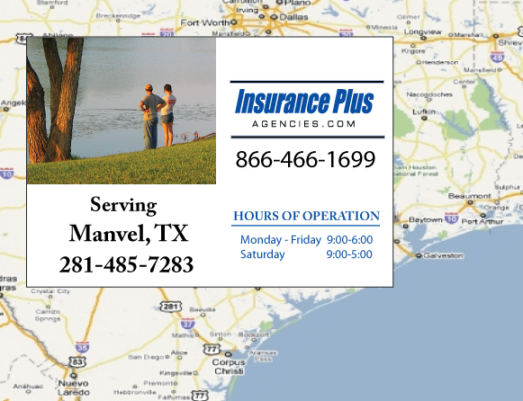 Insurance Plus Agencies of Texas (281)331-7775 is your Commercial Liability Insurance Agency serving Manvel, Texas. Call our dedicated agents anytime for a Quote. We are here for you 24/7 to find the Texas Insurance that's right for you.