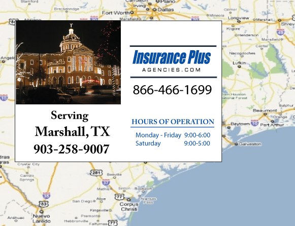 Insurance Plus Agencies of Texas (903)258-9007 is your Commercial Liability Insurance Agency serving Marshall, Texas. Call our dedicated agents anytime for a Quote. We are here for you 24/7 to find the Texas Insurance that's right for you.