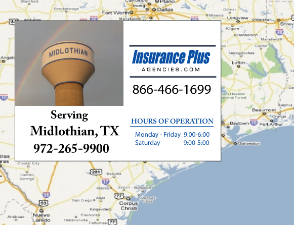 Insurance Plus Agencies of Texas (972)265-9900 is your Commercial Liability Insurance Agency serving Midlothian, Texas.
