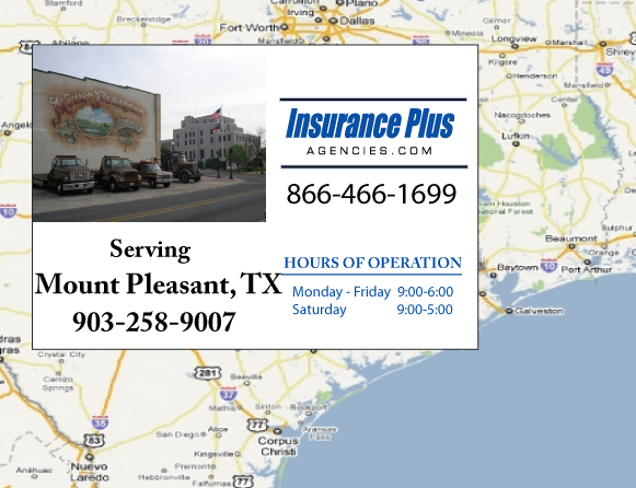 Insurance Plus Agencies of Texas (903)258-9007 is your Commercial Liability Insurance Agency serving Mount Pleasant, Texas. Call our dedicated agents anytime for a Quote. We are here for you 24/7 to find the Texas Insurance that's right for you.
