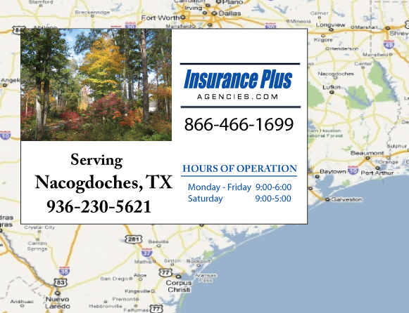 Insurance Plus Agencies of Texas (936)230-5621 is your Commercial Liability Insurance Agency serving Nacogdoches, Texas. Call our dedicated agents anytime for a Quote. We are here for you 24/7 to find the Texas Insurance that's right for you.