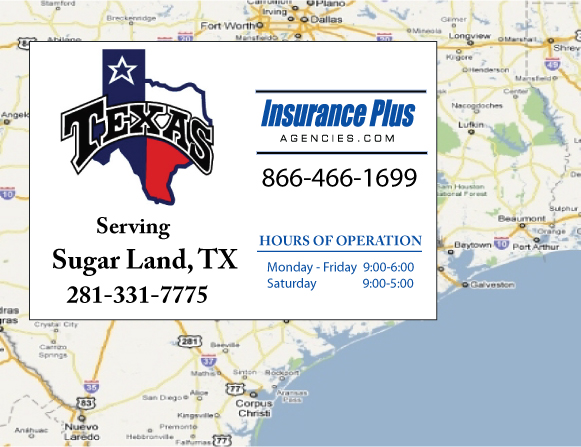 Insurance Plus Agencies of Texas (281)331-7775 is your Commercial Liability Insurance Agency serving Sugar Land, Texas. Call our dedicated agents anytime for a Quote. We are here for you 24/7 to find the Texas Insurance that's right for you.