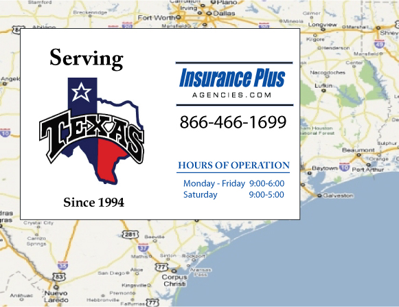 Insurance Plus Agencies of Texas (979)848-9800 is your Commercial Liability Insurance Agency serving Bonney, Texas. Call our dedicated agents anytime for a Quote. We are here for you 24/7 to find the Texas Insurance that's right for you.