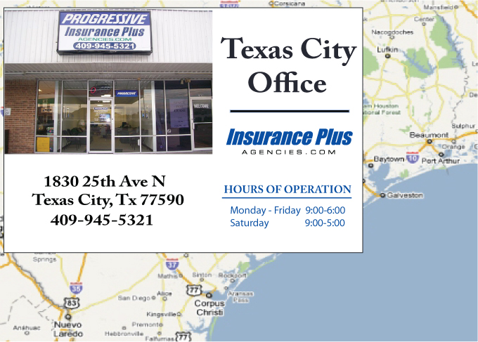 Insurance Plus Agencies of Texas (409)945-5321 is your Commercial Liability Insurance Agency serving Texas City, Texas. Call our dedicated agents anytime for a Quote. We are here for you 24/7 to find the Texas Insurance that's right for you.